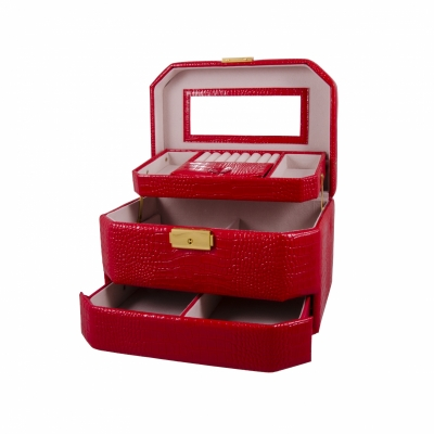 шкатулка-автомат для украшений красная 23см