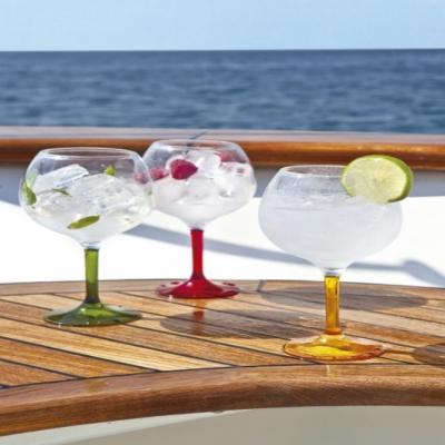 бокалы прозрачные для воды party цветные ножки, 6шт