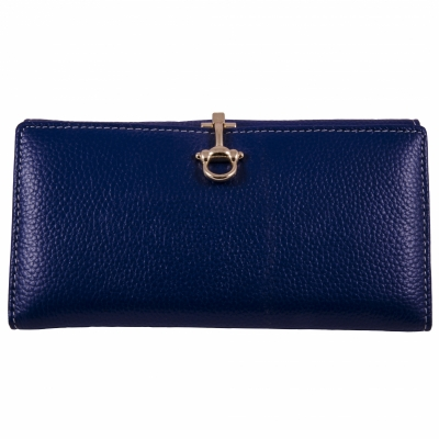 кошелек синий кожаный 19*10см