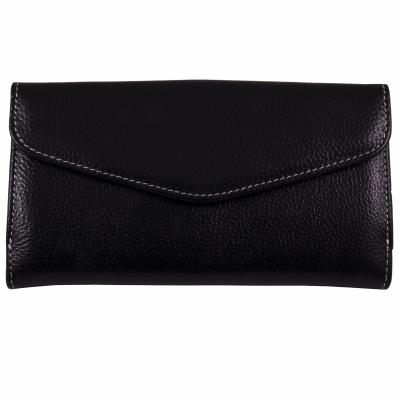 кошелек черный кожаный 19*10см