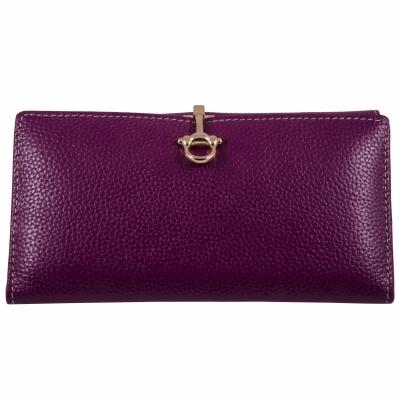 кошелек фиолетовый кожаный 19*10см