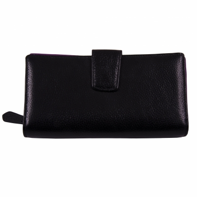 кошелек черный кожаный 20*10см