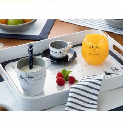 чашки для эспрессо с блюдцами welcome on board набор 6 шт