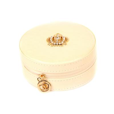 Шкатулка для женских украшений круглая белая