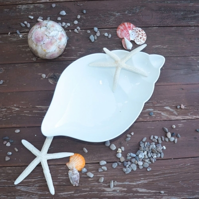 Закусочная тарелка Ракушка керамика 25*15см