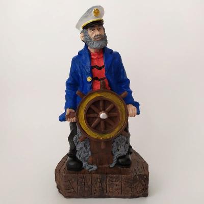 Капитан со штурвалом в синем кителе 20см