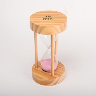 Часы песочные 15мин розовые