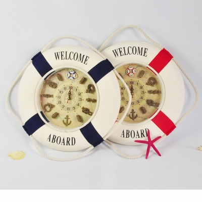 Часы декоративные спасательный круг красный 35 см