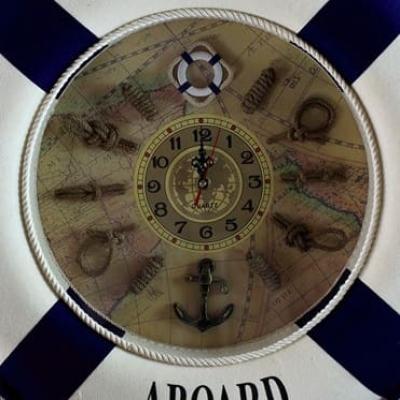 Спасательный круг с часами синий настенный диаметр 50см