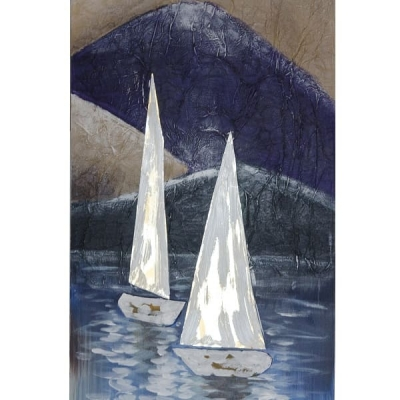 Картина Два парусника в море на холсте 150*50см