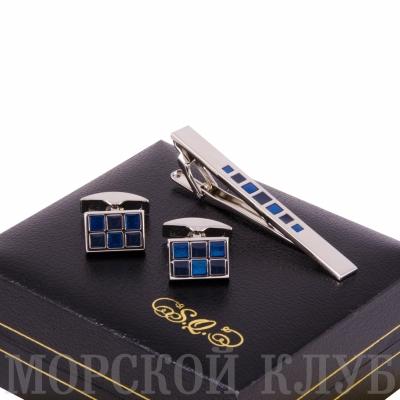 набор s.quire запонки и заколка для галстука (голубой)