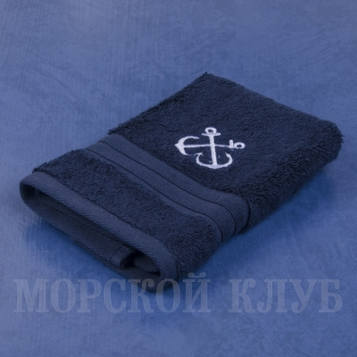 Полотенце Якоря махровое синее 30*30см