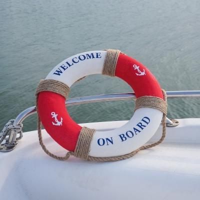 Спасательный круг интерьерный бело-красный 45см
