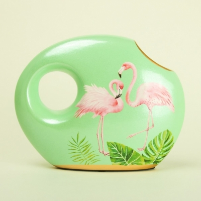 Ваза Фламинго круглая 20*16см керамика