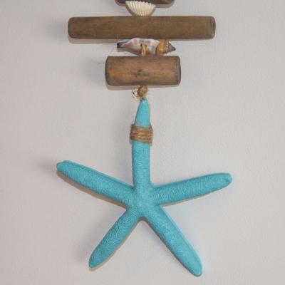 Гирлянда декоративная морская звезда синяя 60см