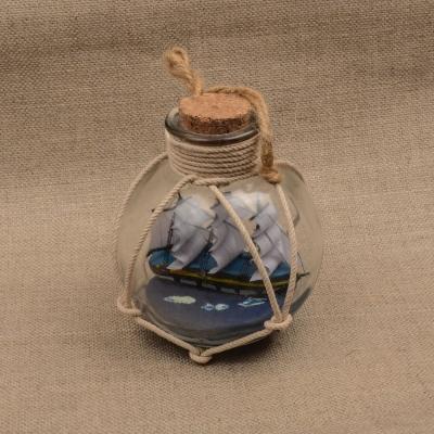 Парусник трехмачтовый в бутылке 22см