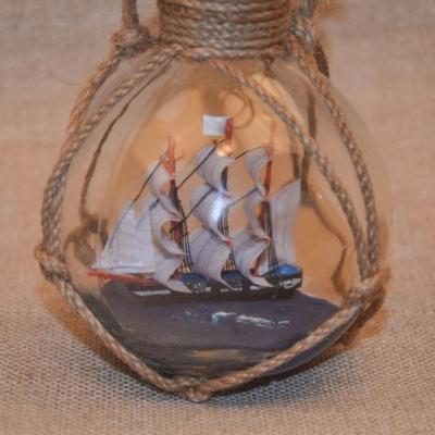 Трехмачтовый корабль в бутылке 18см