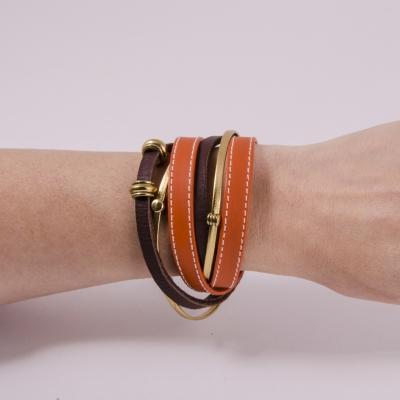 браслет кожаный оранжевый