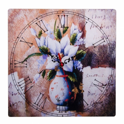 часы настенные ваза с цветами 30см