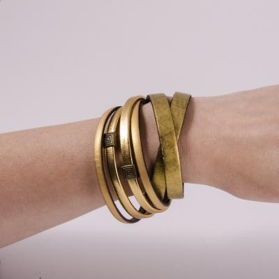 браслет кожаный золотой