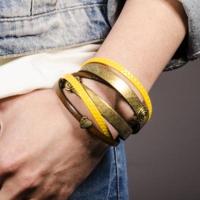 браслет кожаный желто-золотой