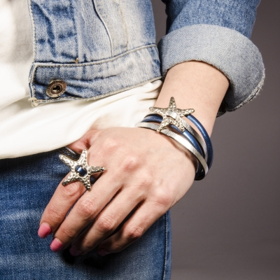 набор браслет и кольцо звезда