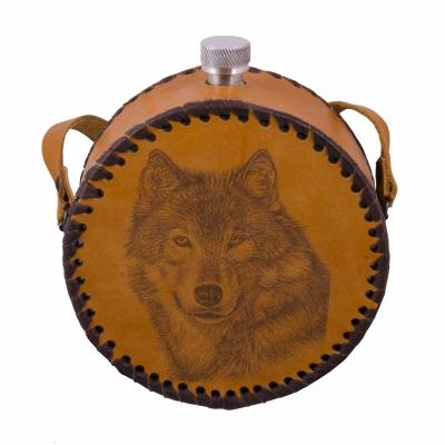 фляга круглая волк 0,7л