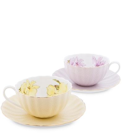 чайный набор густо лючия на 2 персоны желтый/фиолет (pavone)