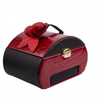 шкатулка-автомат для украшений бордовая 23см