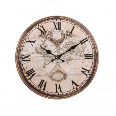 часы настенные старая карта мира 34см