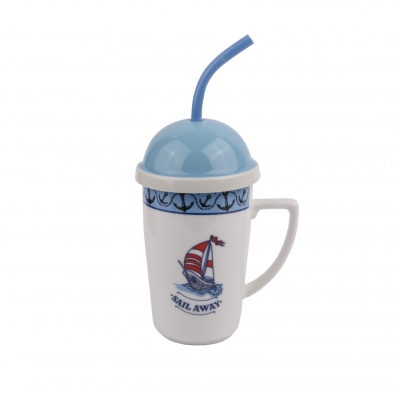 чашка с крышкой парусник