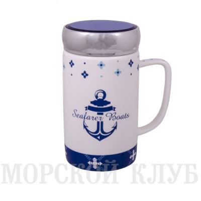 чашка с крышкой якорь