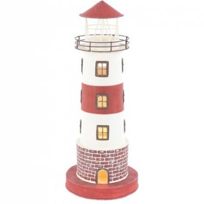 маяк-светильник белый/бордо 42см