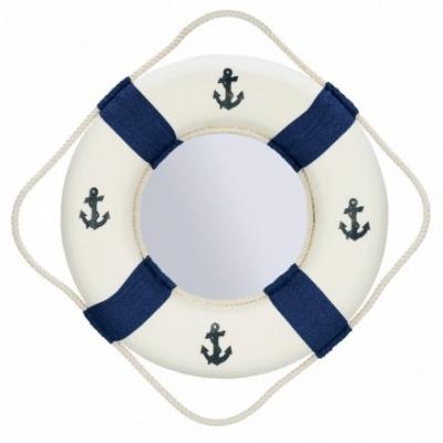 зеркало-спасательный круг с якорями синий 45см