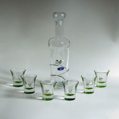 набор стопок со штофом (цветок) зеленое стекло 0,5л