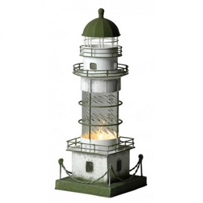 маяк-светильник белый/зеленый 39см