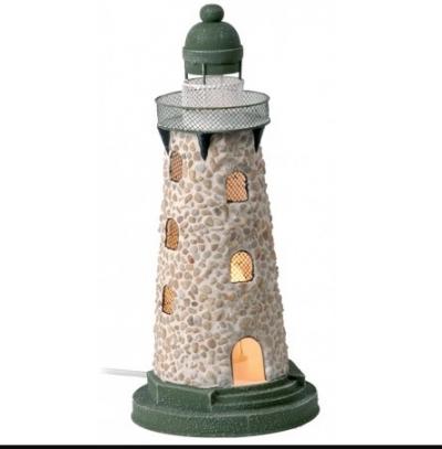 маяк-светильник бежевый/зеленый 41см