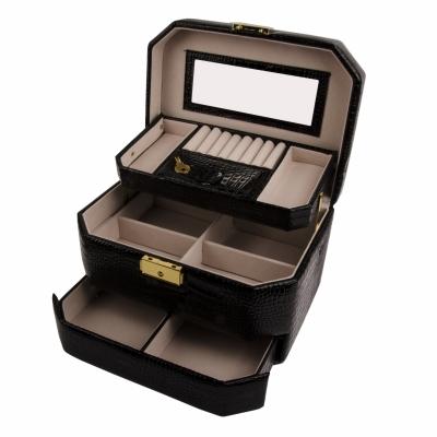 шкатулка-автомат для украшений черная лаковая 23см