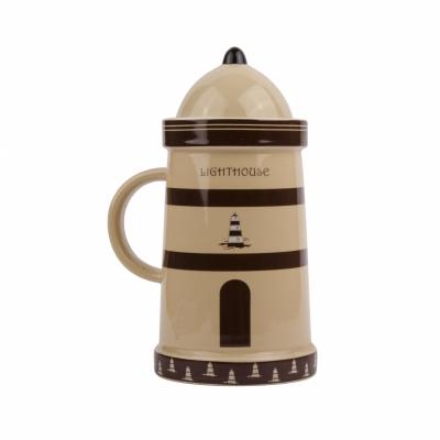 чашка маяк коричневая