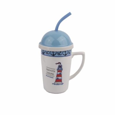 чашка с крышкой и трубочкой маяк