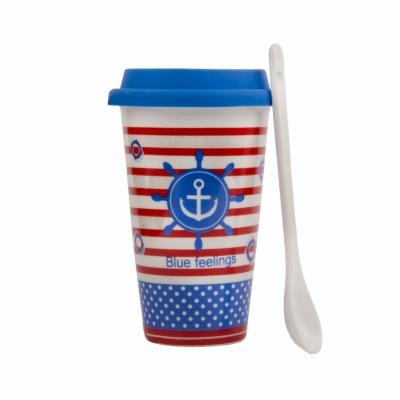 чашка якорь с ложкой и силиконовой крышкой