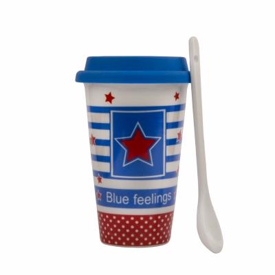 чашка звезда с ложкой и силиконовой крышкой