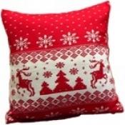 Подушка новогодняя с оленями 50см