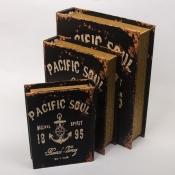 Книга-шкатулка с якорем и штурвалом 19см