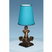 Лампа Якорь темный с абажуром синего цвета