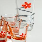 стопки+штоф оранжевый цветок