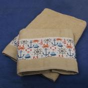 Набор полотенец Краб молочный в коробке №5