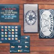 коврик на нескользящей основе welcome on board прямоугольный (marine business)