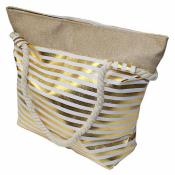 Сумка пляжная с золотыми полосками 48*37см