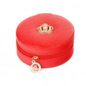Шкатулка для бижутерии круглая красная на молнии